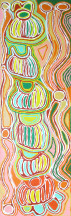 Judy Napangardi Watson ASAAJW2260 Mina Mina Jukurrpa (Mina Mina Dreaming) 2007 152x46cm Acrylic on linen SOLD
