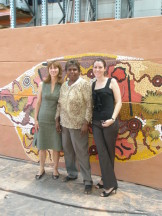 Aranda staff, Anne Mavridis (left) and Erin O'Moore (right) with Gabriella Possum with her 20m art installation she completed for Jamie Durie's garden display at the Chelsea Flower Show 20th-24th May 2008.