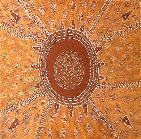 Tim Leura Tjapaltjarri Dreaming Story at Warlugulong 1979 60x71cm Acrylic paints on art board