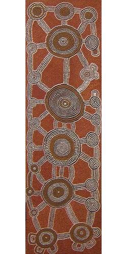 Yala Yala Gibbs Tingari Men at Mulli-ulutu ASAAOM08 1977 48x165cm Acrylic paints on linen