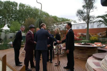 Prince Edward at the Australian display at the Chelsea Flower Show, 2008 which won the Gold Metal. Gabriella Possum's mural in the background.